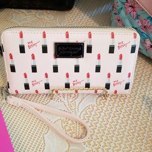 Sale Betsey Johnson lipstick wallet w. strap